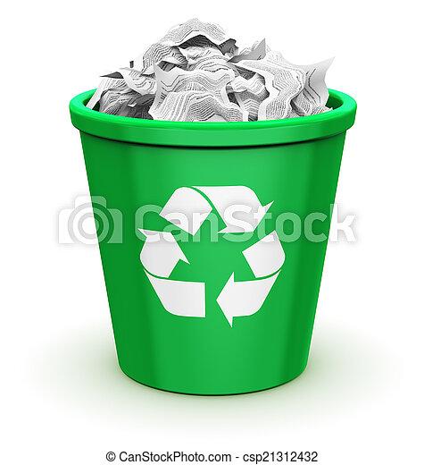 Contenitore Raccolta Differenziata Pieno Risparmio Ufficio Astratto Segno Riciclabile Riciclaggio Carta Documenti Canstock