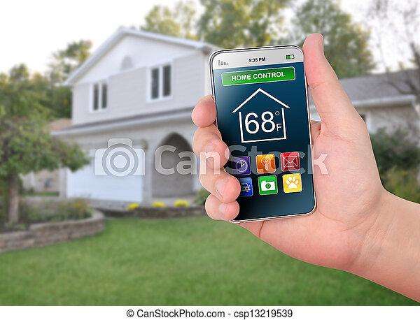 controllo, casa, controllo, far male, telefono - csp13219539