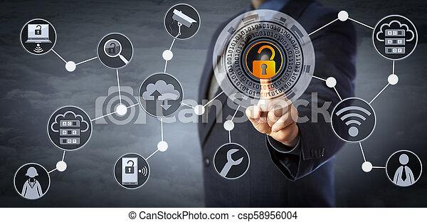 controllo, direttore, accesso, sbloccando, scheggia, blu - csp58956004