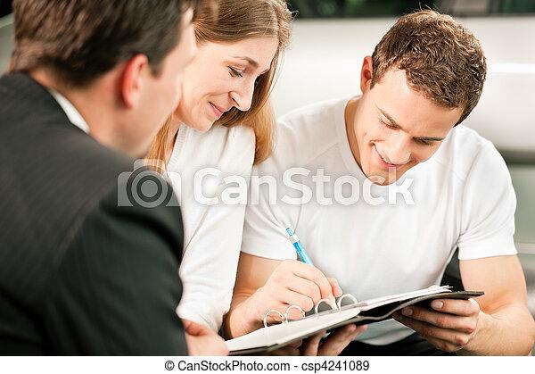 coppia, firmando contratto, vendite - csp4241089