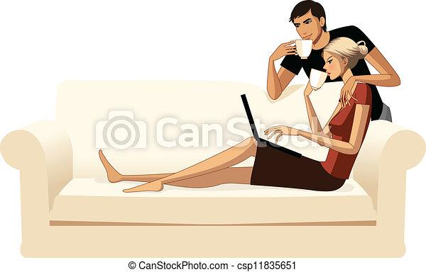 coppia, giovane - csp11835651