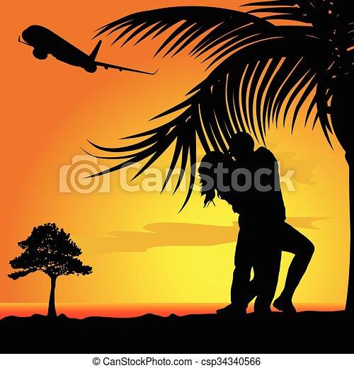 coppia, illustrazione, natura - csp34340566
