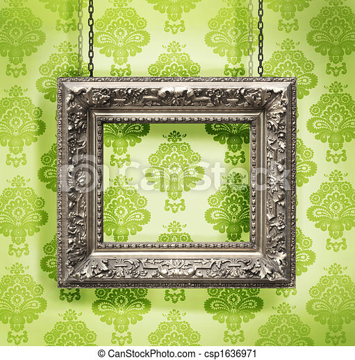 cornice, carta da parati, contro, appeso, fondo, floreale, argento - csp1636971