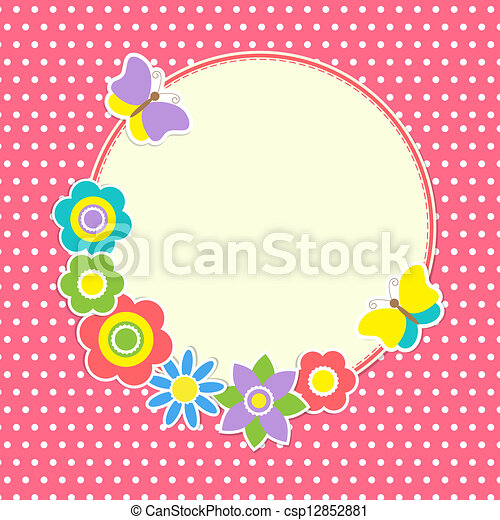 cornice, fiori, farfalle, colorito, rotondo - csp12852881