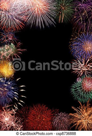 cornice, fireworks, colorito - csp8736888