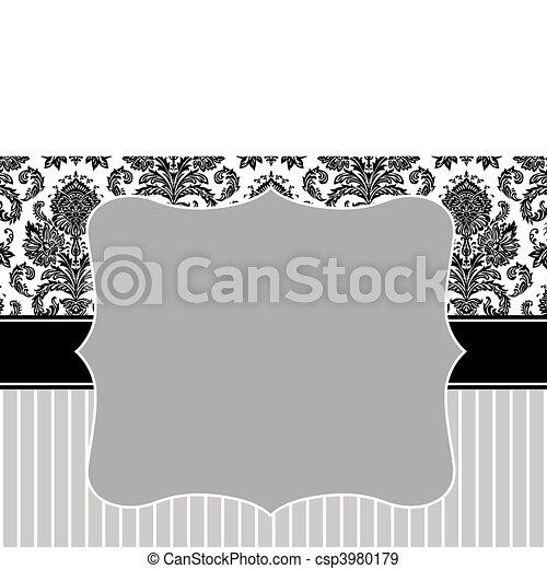 cornice, vettore, striscia, damasco - csp3980179