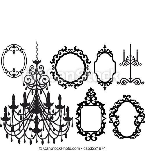 cornici, candeliere, immagine - csp3221974