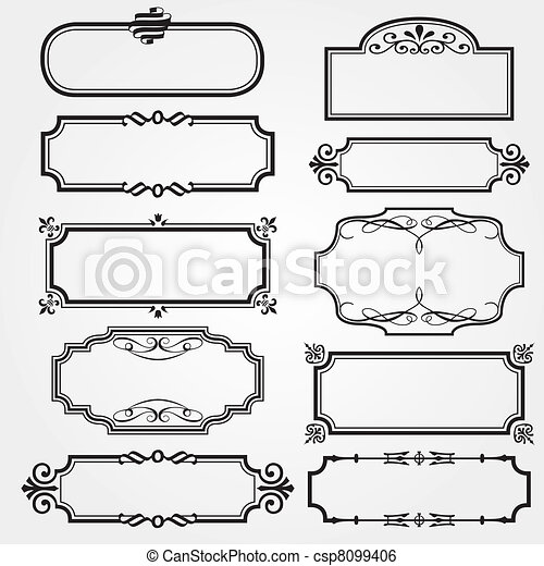 cornici, set, ornare, vettore - csp8099406