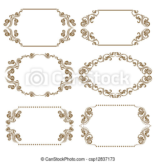 cornici, vettore, set, ornare - csp12837173