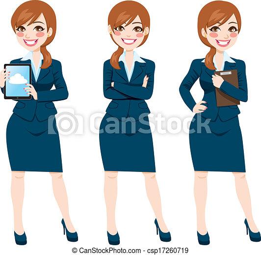 corpo, donna d'affari, pose, brunetta, pieno - csp17260719