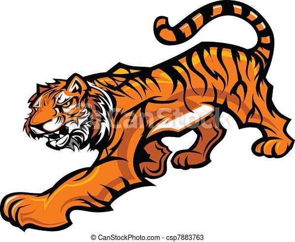 corpo, tiger, vettore, mascotte, grafico - csp7883763