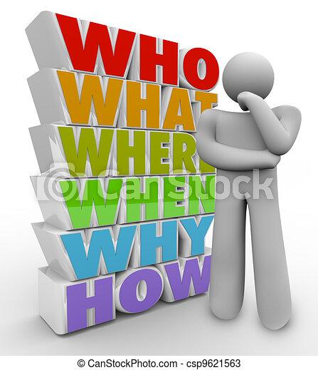 cosa, chiede, persona, quando, come, pensatore, domande, dove, perché - csp9621563