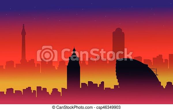 costruzione, città, scenario, collezione, silhouette, londra - csp46349903