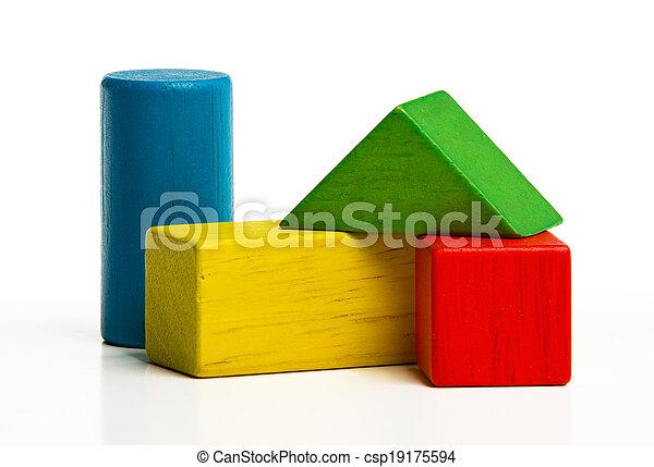 costruzione, giocattolo, legno, sopra, blocchi, mattoni, multicolor, costruzione, fondo, bianco - csp19175594