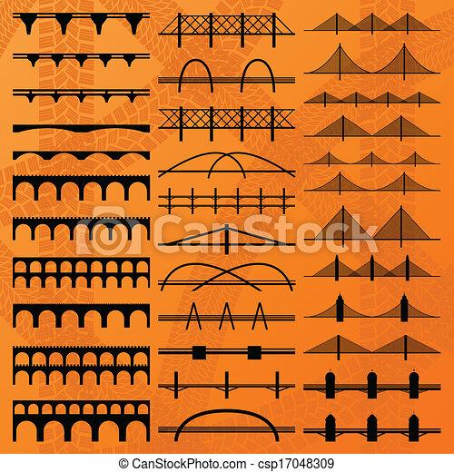costruzione, ponte, silhouette, vettore, fondo - csp17048309