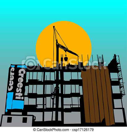 costruzione, simbolo, vettore - csp17126179