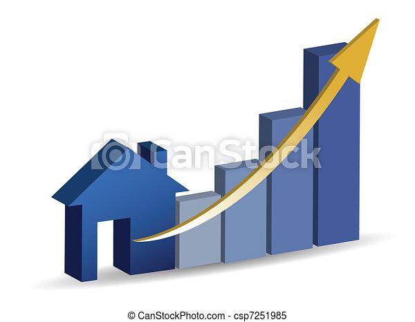 crescente, vendite casa, illustrazione - csp7251985