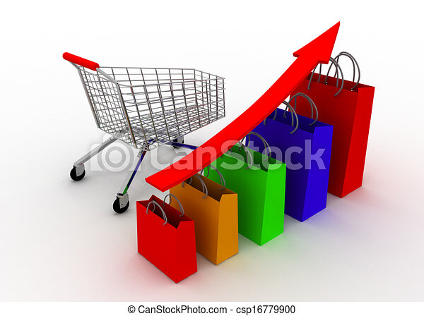 crescere, grafico, carrello, vendite - csp16779900