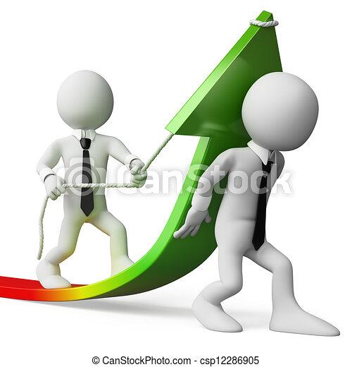 crescita affari, vendite, persone., 3d, bianco - csp12286905