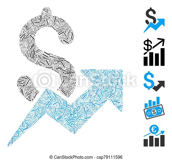 crescita, lineetta, icona, vendite, collage - csp79111596