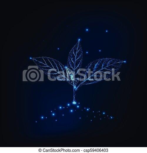 crescita, suolo, foglie, triangles., concept., punti, sviluppo, germoglio, fatto, linee, nuovo - csp59406403