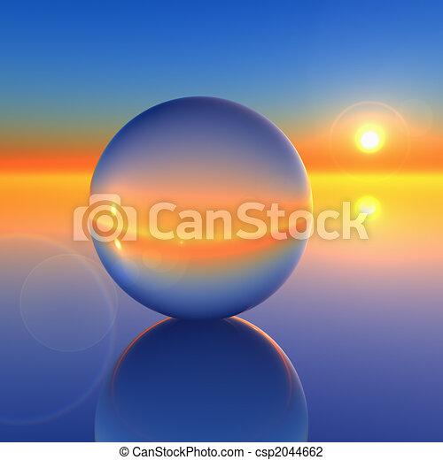 cristallo, astratto, palla, futuro, orizzonte - csp2044662