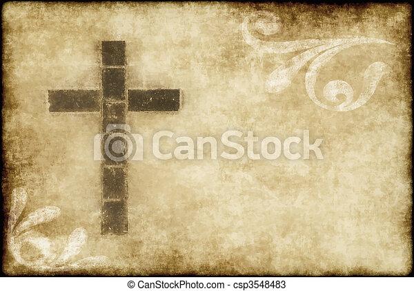 cristiano, croce, pergamena - csp3548483