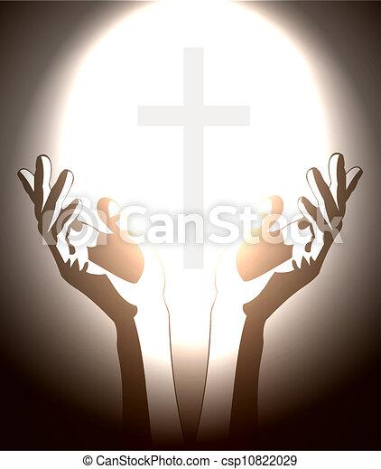 cristiano, silhouette, croce, mano - csp10822029