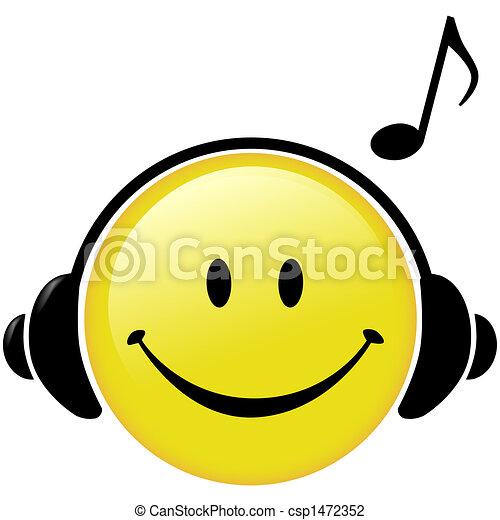 cuffie, nota, musicale, felice, musica - csp1472352