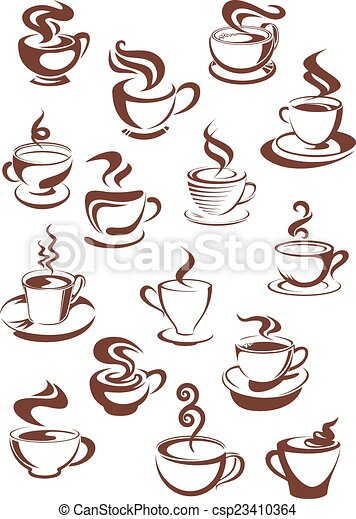 cuocere vapore caffè, campanelle, set - csp23410364