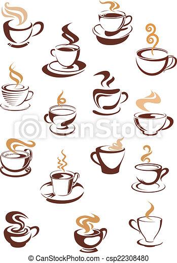 cuocere vapore caffè, campanelle, set - csp22308480