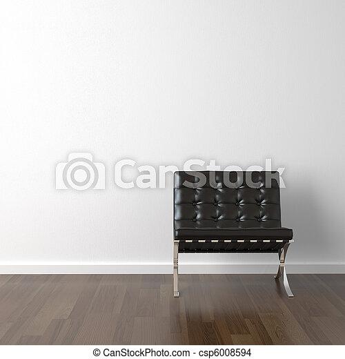 cuoio, parete, sedia, nero, bianco - csp6008594