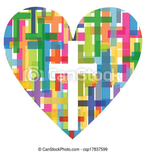 cuore, concetto, manifesto, astratto, croce, illustrazione, cristianesimo, religione, vettore, fondo, mosaico - csp17837599