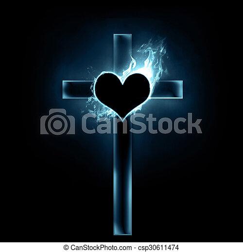 cuore, croce - csp30611474