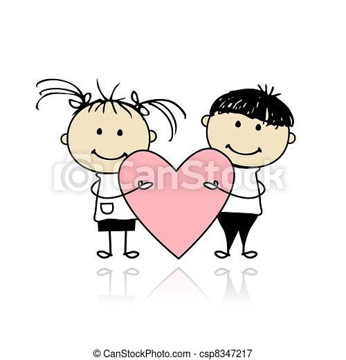 cuore, grande, bambini, valentina, day., disegno, tuo, rosso - csp8347217