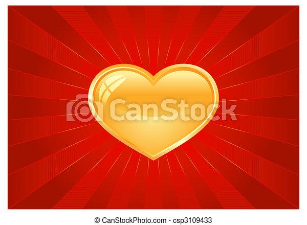 cuore, scoppio leggero, rosso, dorato - csp3109433