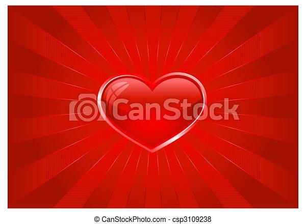 cuore, scoppio, luce rossa - csp3109238