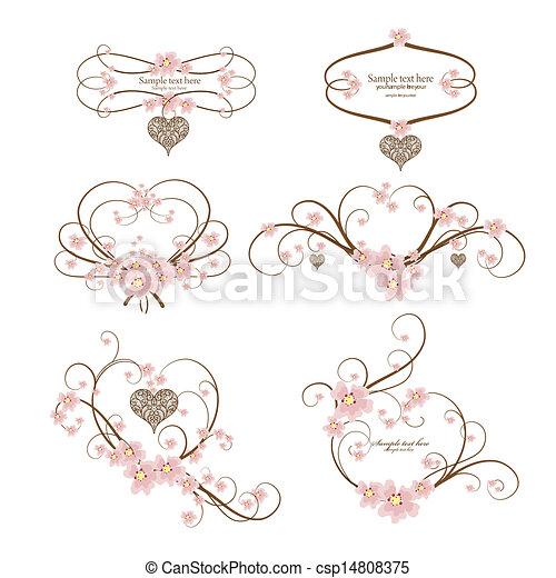 cuore, set, ornamentale, testo, cornice, sei, posto, tuo - csp14808375