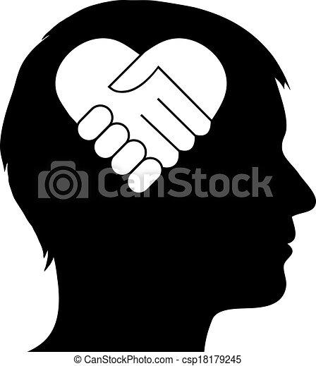 cuore, stretta di mano, maschio, silhouette - csp18179245