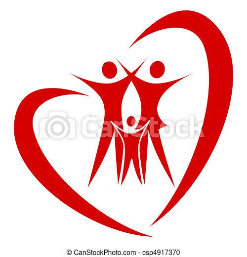 cuore, vettore, famiglia - csp4917370