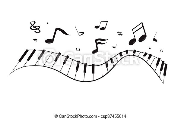 curva, pianoforte, note - csp37455014