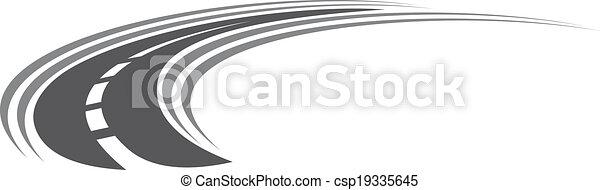 curvatura, tarred, autostrada, o, strada, icona - csp19335645