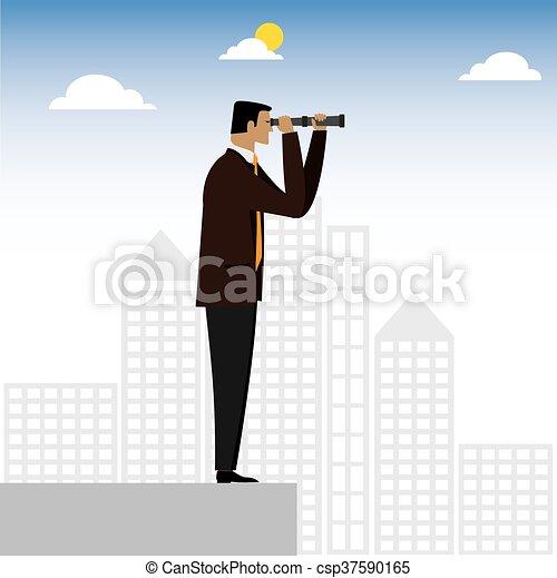 dall'aspetto, grafico, esecutivo, -, visionario, binocolo, vettore, attraverso, uomo affari, o - csp37590165