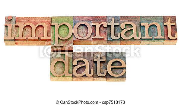 data, importante, tipo, letterpress - csp7513173