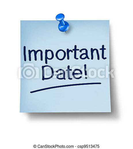 data, nota, importante, ufficio - csp9513475