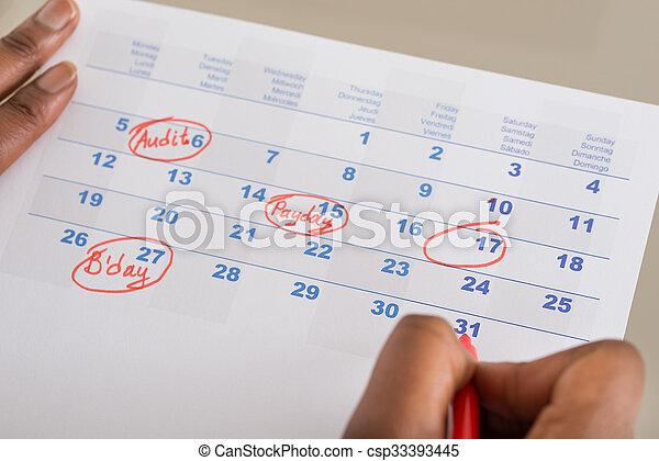 data, persona, marcatura, importante, calendario - csp33393445