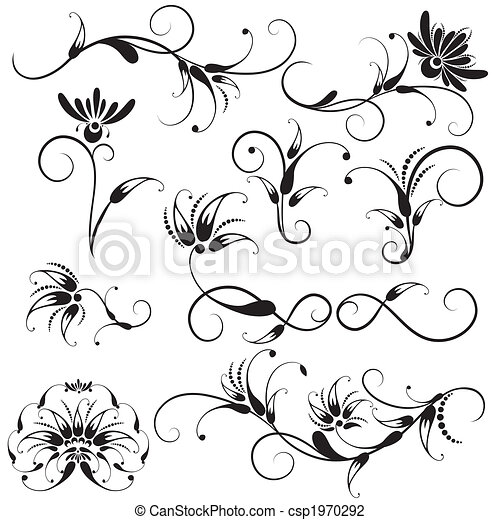 decorativo, elementi floreali, disegno - csp1970292