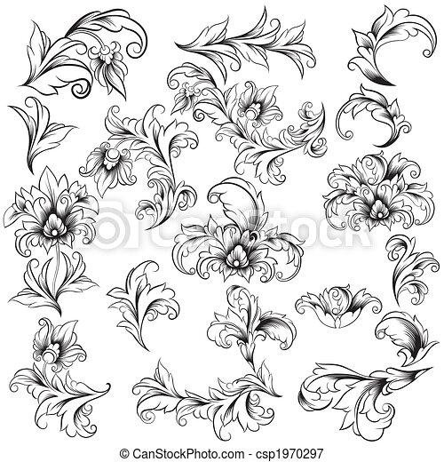 decorativo, elementi floreali, disegno - csp1970297