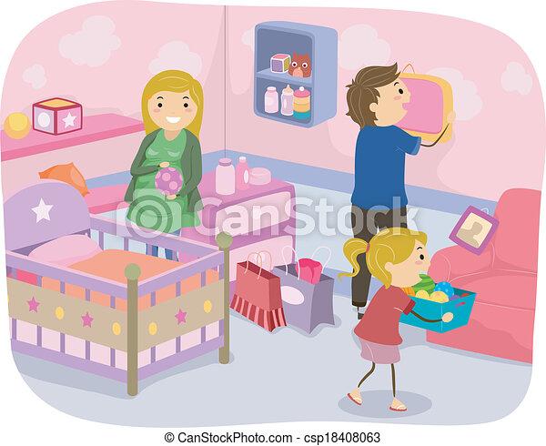 decorazione, vivaio, famiglia - csp18408063