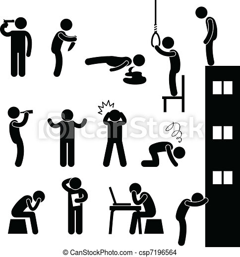 deprimere, suicidio, persone, triste, uccidere, uomo - csp7196564
